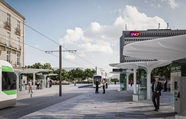 La future station de tram sur le parvis de la gare de Nantes