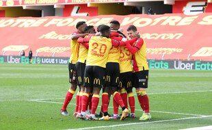 Les joueurs du RC Lens lors de leur match face à Lorient.