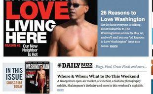 Capture d'écran du site du «Washingtonian», avec une photo de Barack Obama en maillot de bain qui suscite la polémique, le 23 avril 2009.