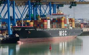 Un navire de la compagnie MSC en escale dans le Port du Havre a Port 2000, le 24 décembre 2019.