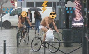 Deux cyclistes ont bravé l'orage en slip à Rennes le 11 juin 2018.