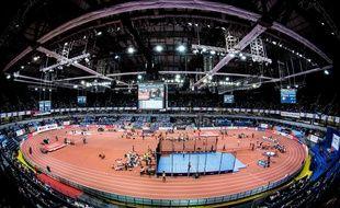 Le stade de Kiev lors des championnats d'Europe d'athlétisme en salle 2017.