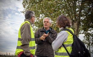 Jean-Pierre Fraisse, lors d'une mobilisation en hommage à son fils Rémi, sur la commune de Plaisance-du-Touch où il réside.
