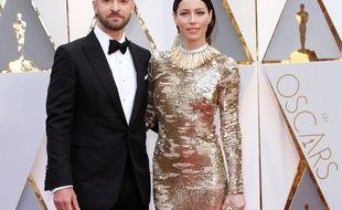 L'acteur et chanteur Justin Timberlake et sa femme, l'actrice Jessica Biel aux Oscars 2017