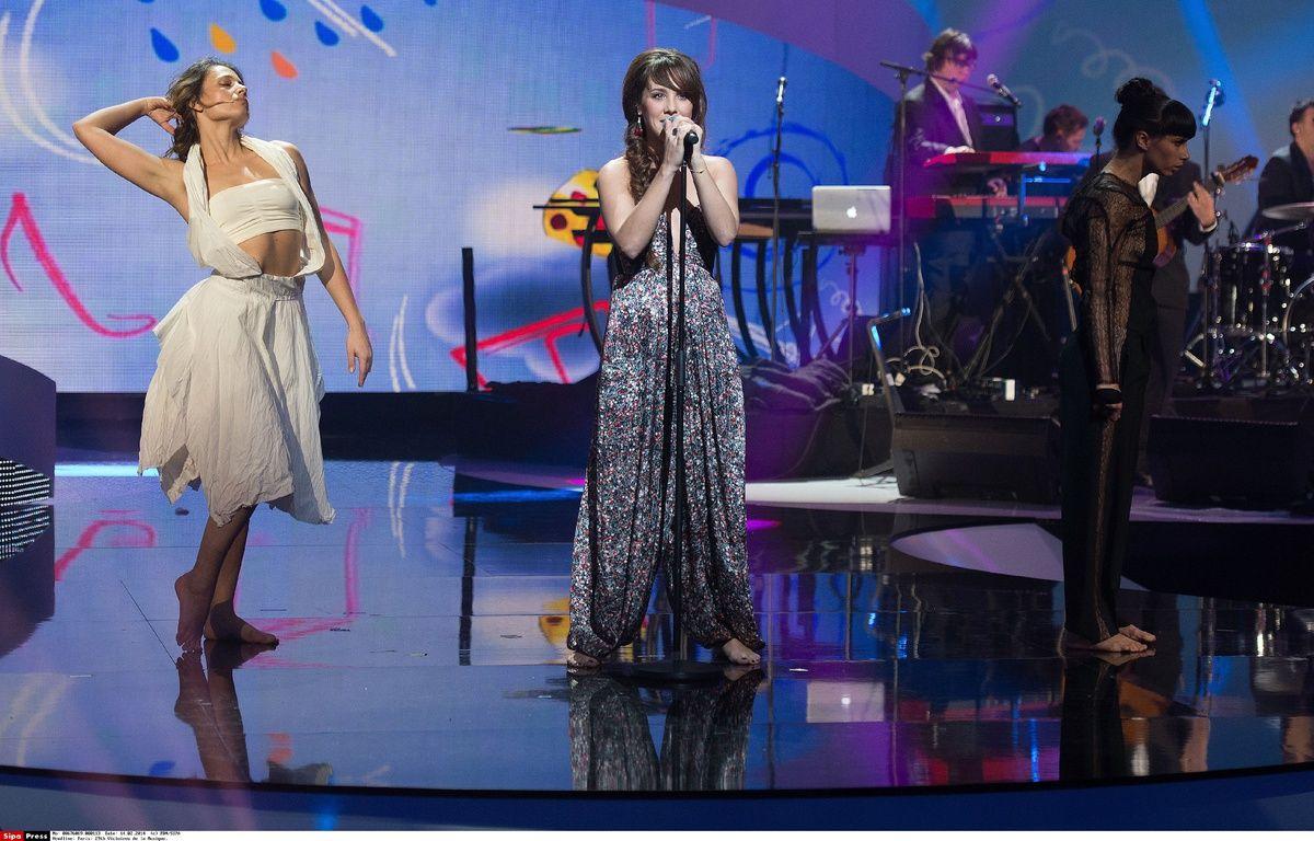 La chanteuse Zaz aux Victoires de la musique, le 14 février 2014, au Zenith de Paris. – PDN/SIPA
