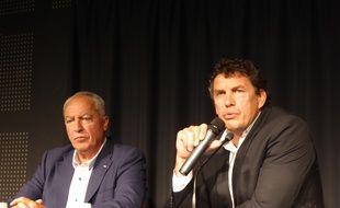 Alain Carré et Didier Lacroix, respectivement présidents de Colomiers Rugby et du Stade Toulousain, le 4 juillet 2017 au stade Ernest-Wallon.