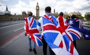 Des Britanniques drapés de l'Union Jack marchent vers le Parlement, à Londres, le 26 juin 2016.