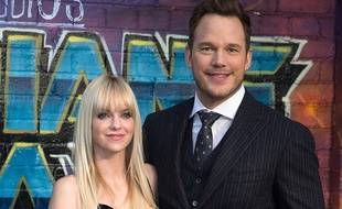 Les comédiens Anna Faris et Chris Pratt à l'Eventim Apollo de Londres