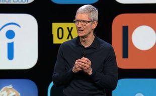 Le patron d'Apple, Tim Cook, à la WWDC, le 4 juin 2018.