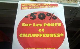 Une photo de soldes envoyée de Saint-Malo au 33320@20minutes.fr par  Sp6men35