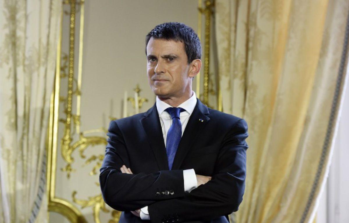 Manuel Valls à Matignon pour ses vœux à la presse, le 28 janvier 2016  – ALAIN JOCARD / AFP