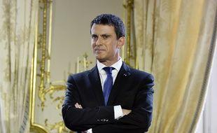 Manuel Valls à Matignon pour ses vœux à la presse, le 28 janvier 2016