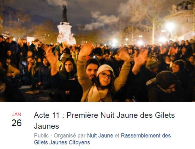 Des militants appellent à une «nuit jaune» à Paris le 26 janvier 2019.