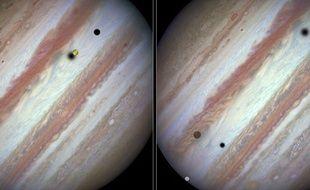 Conjonction de trois lunes de Jupiter, Europe, Io et Callisto, le 24 janvier.