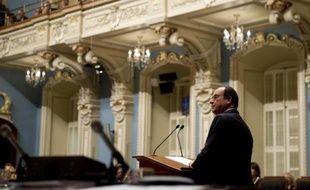 Le président français François Hollande s'adresse au parlement québécois le 4 novembre 2014 à Québec
