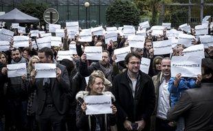 Les journalistes d'iTélé mobilisés pour l'avenir de leur chaîne.