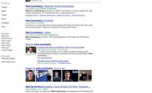 Capture d'écran d'une recherche sur Google.com depuis le lancement de Search Plus Your World.