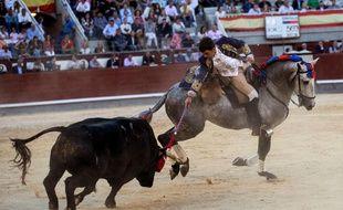 Le torero portugais Joao Moura lors d'une corrida à Madrid (Espagne), en mai 2019.