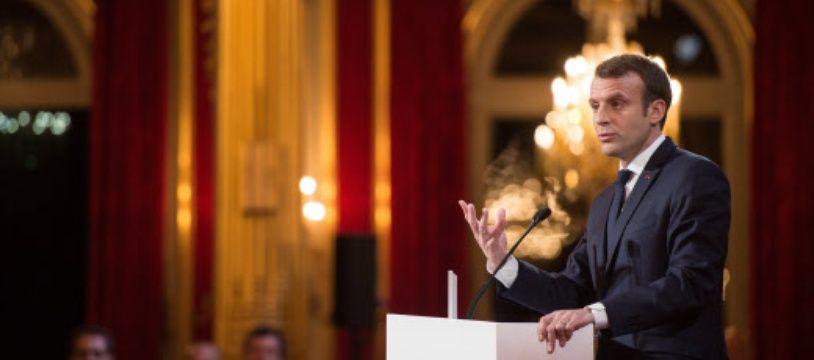 Emmanuel Macron à l'Elysée lors de ses vœux pour 2018
