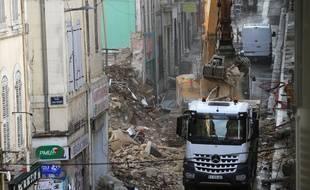 Des immeubles en ruine rue d'Aubagne à Marseille