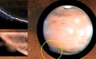 Formation nuageuse observée sur Mars en 2012.