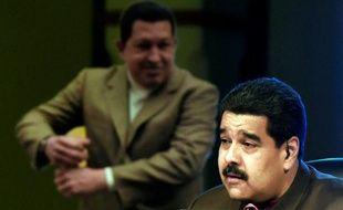 Le président vénézuélien Nicolas Maduro lors de son émission télévisée, devant une affiche d'Hugo Chavez, à Caracas le 6 octobre 2015