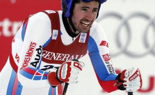 Le skieur français Jean-Baptiste Grange, après la descente du super-combiné des championnats du monde de Val d'Isère, le 9 février 2009.
