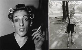Deux photos de l'exposition Diane Arbus au Jeu de Paume. A gauche: «Jeune homme en bigoudis chez lui, Vingtième Rue, N.Y.C. 1966». A droite, «Enfant avec une grenade en plastique dans Central Park, New York 1962»