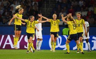 Les Suédoises ont battu le Canada en 8e de finale de la Coupe du monde, le 24 juin 2019.