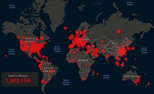 La carte de la pandémie de coronavirus, qui a franchi le seuil de un million de cas dans le monde le 2 avril 2020.