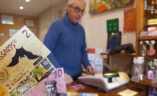 Sur les Nissarts, la monnaie locale niçoise, Pepin Garibaldi et Catherine Segurane sont dessinés.