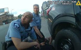 Les policiers Derek Chauvin et Alex Kueng immobilisant George Floyd le 25 mai 2020 (images de la bodycam de l'agent Thomas Lane).
