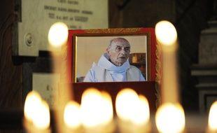 Une photo du père Jacques Hamel dans l'église San Luigi dei Francesi de Rome