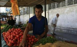 Mouammar Qouider, le 29 septembre 2015 sur son stand de légumes à Gaza