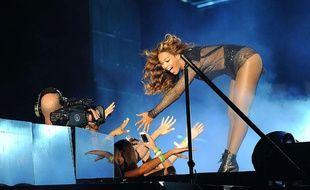 Beyoncé lors d'un concert à Los Angeles le 2 août 2014 pour le On the Run Tour