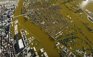 Des vidéos de simulation en 3D d'une crue centennale de la Seine et de la Marne ont été produites dans le cadre de l'opération EU Sequana 2016.