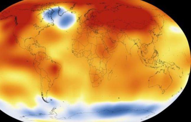 Illustration fournie le 20 janvier 2016 par la NASA montrant le réchauffement climatique dans le monde