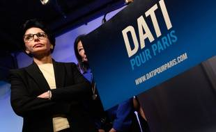 Rachida Dati. Member of the Les Republicains (LR) right-wing party and candidate of the right-wing party - LR - Les Republicains - for mayor of Paris in 2020, Rachida Dati delivers a speech during a ceremony for new year. Paris, FRANCE-18/01/2020
