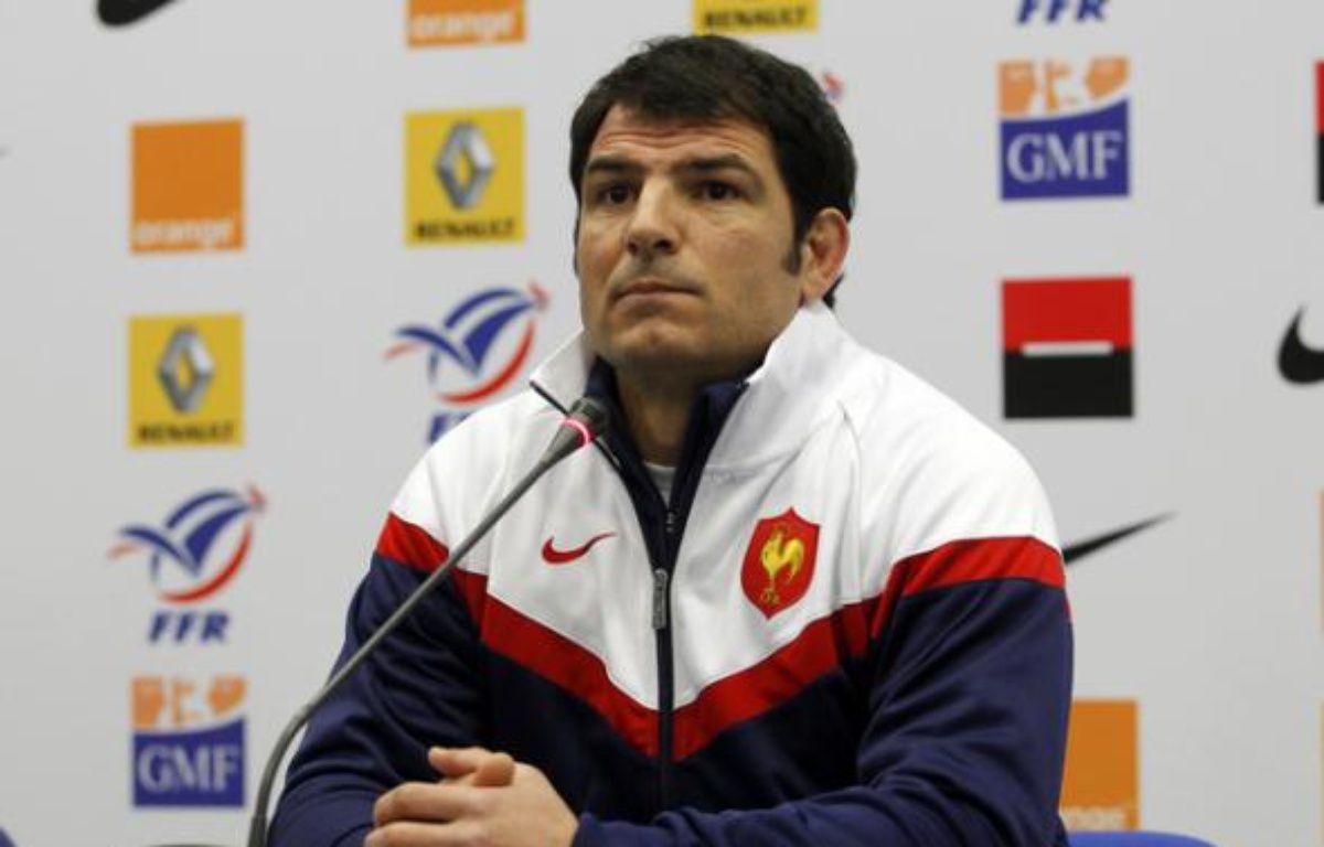 Le sélectionneur du XV de France, Marc Lièvremont lors d'un point presse à Marcoussis, le 10 février 2010. – REUTERS