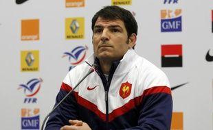 Le sélectionneur du XV de France, Marc Lièvremont lors d'un point presse à Marcoussis, le 10 février 2010.