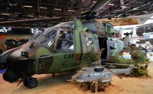 Un hélicoptère militaire exposé au salon international Eurosatory consacré à la défense et à la sécurité,  à Paris Nord Villepinte (Seine-Saint-Denis), le 13 juin 2016