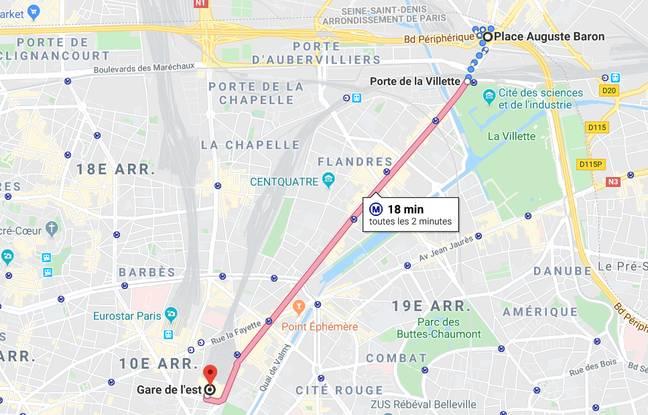 La gare de l'Est se situe à quatre stations de métro de Porte de la Villette.