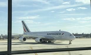 Un Airbus A380 d'Air France sur le tarmac de l'aéroport international Washington-Dulles, le 24 août 2018.