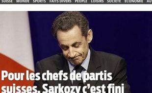 Le site du quotidien suisse «Le Matin», après le premier tour de la présidentielle en France, le 22 avril 2012.