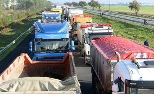 Des camions bloquent une partie de l'autoroute A10, le 25 novembre 2013