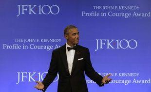 Barack Obama donnant un discours à Boston en mai dernier.
