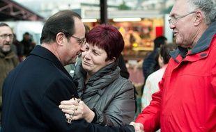 François Hollande en visite à Tulle, son ancienne commune, le 17 janvier 2015.