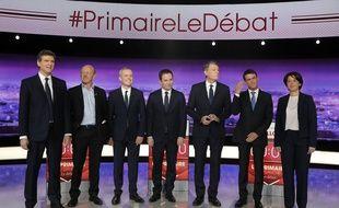 Les sept candidats à la primaire de la gauche, le soir du premier débat diffusé le 12 janvier 2016 sur TF1.