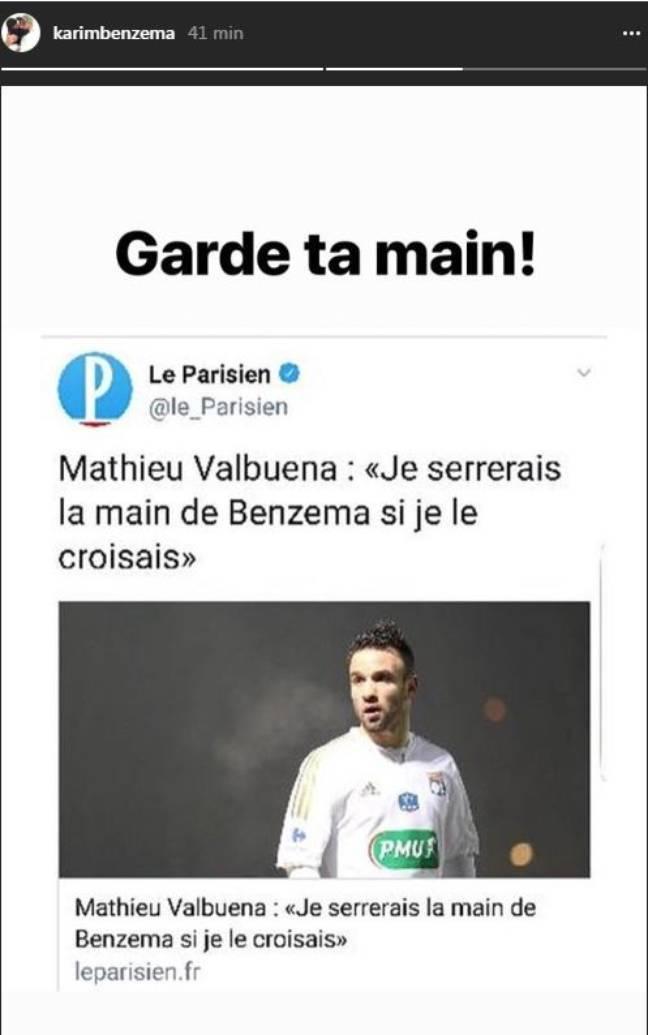 Benzema sur Instagram