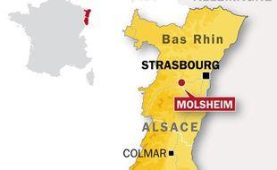 Carte de localisation de Molsheim (Bas-Rhin) où un tunnel a été découvert sous une banque, jeudi 3 juin 2010.